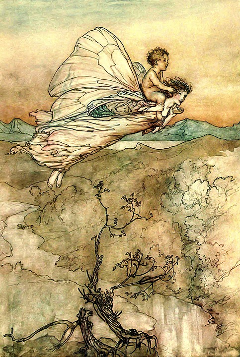 vintage fairy flying