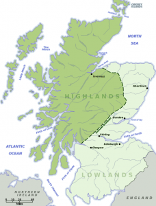 Map of Scottish Highlands and Lowlands