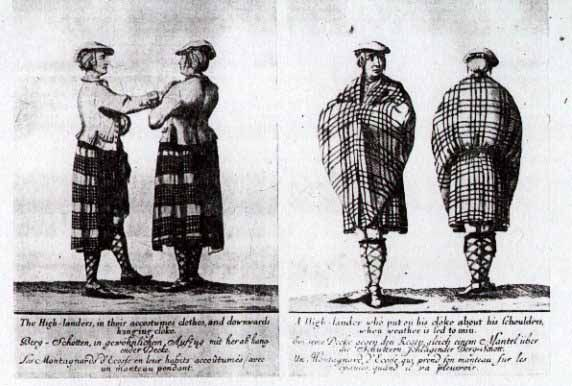 Four images of Highlanders mid-18th century wearing the breacan-an-fèilidh