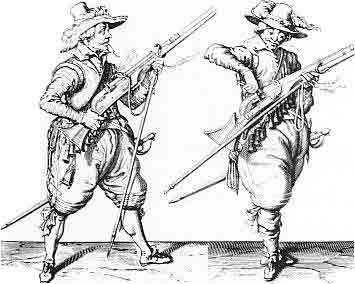 Two 17th century warriors prepare to discharge their weapons.