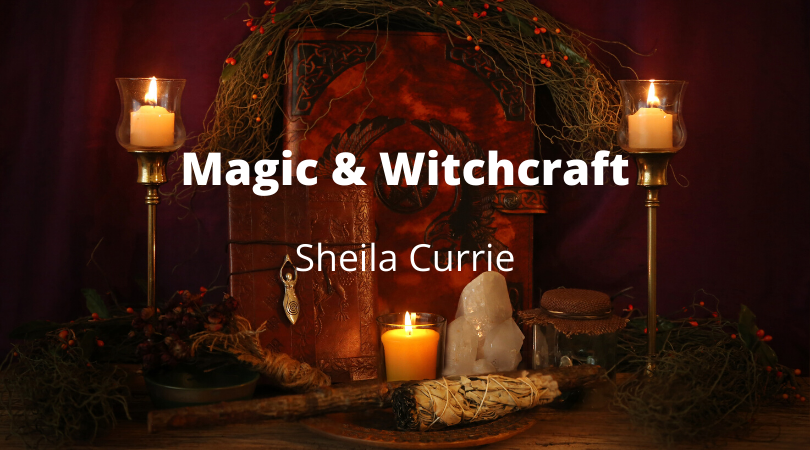 Three candles in the darkness text says: Magic & Witchcraft with Sheila Currie
