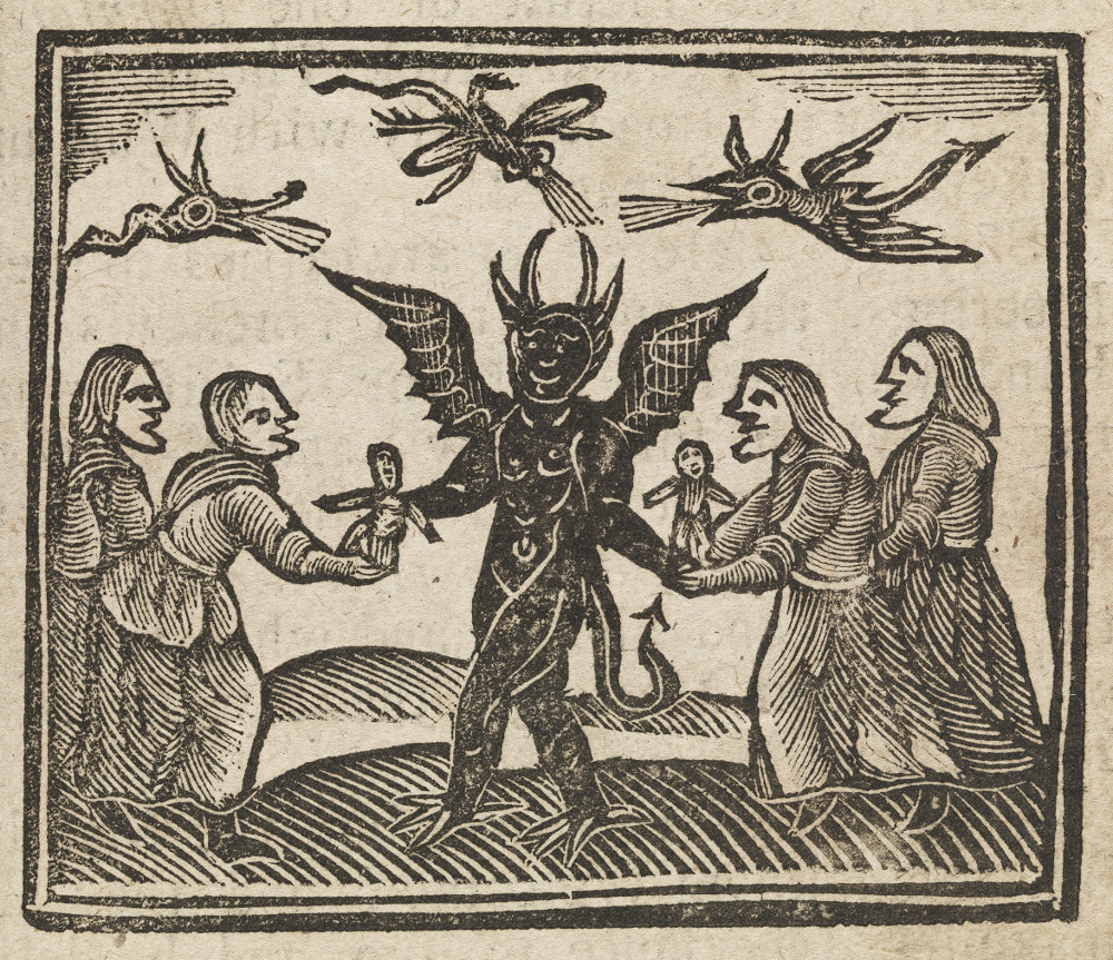 Four women present small images to be cursed by the devil