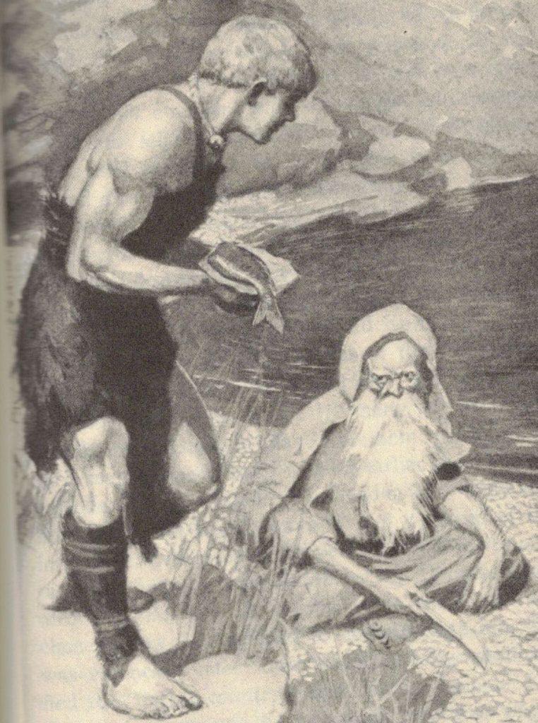 Fionn mac Cumhaill presents a salmon to a druid