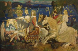 A painting called Riders of the Sidhe by John Duncan showing the fairy folk on horseback
