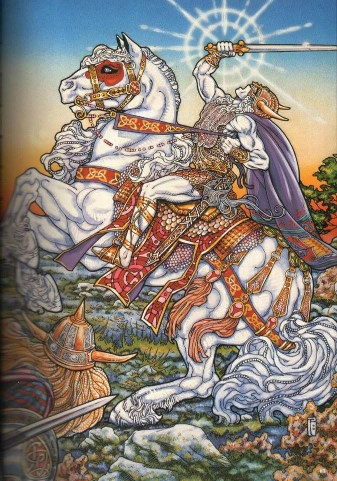 Lugh a sky god carrying sword on his horse