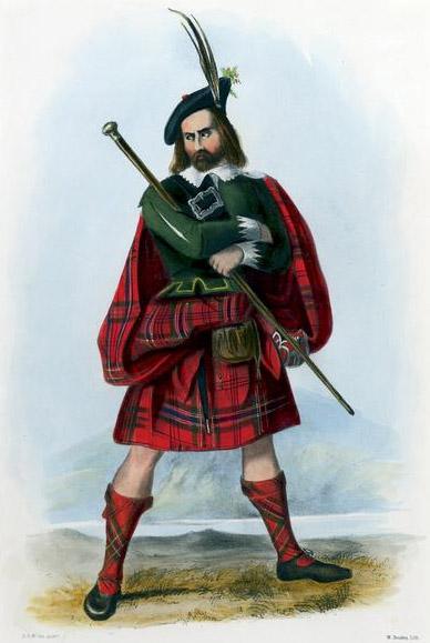 Fosterage -- a MacLean wearing the fèileadh mòr
